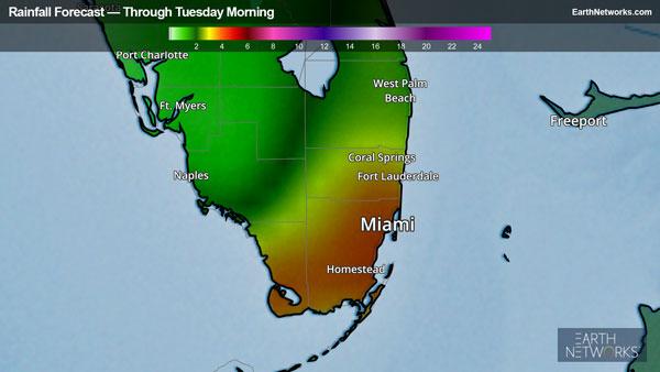 Rainfall through Tuesday morning